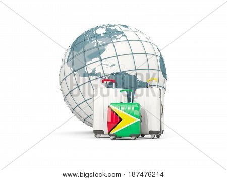 Luggage With Flag Of Guyana. Three Bags In Front Of Globe