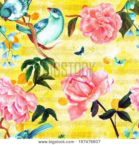 Seamless pattern with watercolor drawings of vibrant teal birds, pink roses, camellias, peonies, and butterflies, painted in style of vintage botanical art, on golden background with sheet music