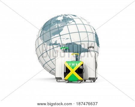 Luggage With Flag Of Jamaica. Three Bags In Front Of Globe