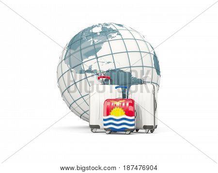 Luggage With Flag Of Kiribati. Three Bags In Front Of Globe