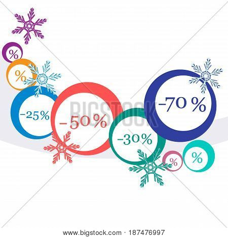 Vector  Illustration Of Various Discounts For Markets And Shops. Christmas Sale.