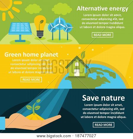 Green energy banner horizontal concept set. Flat illustration of 3 green energy vector banner horizontal concepts for web
