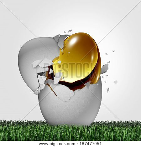 Wealth potential financial concept as a golden egg emerging out of an ordinary one as a business success metaphor for emerging markets or hidden money and tax shelter symbol with 3D illustration elements.