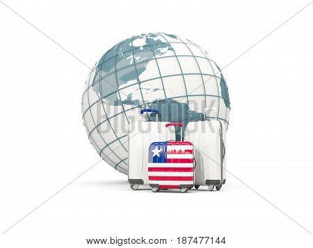 Luggage With Flag Of Liberia. Three Bags In Front Of Globe