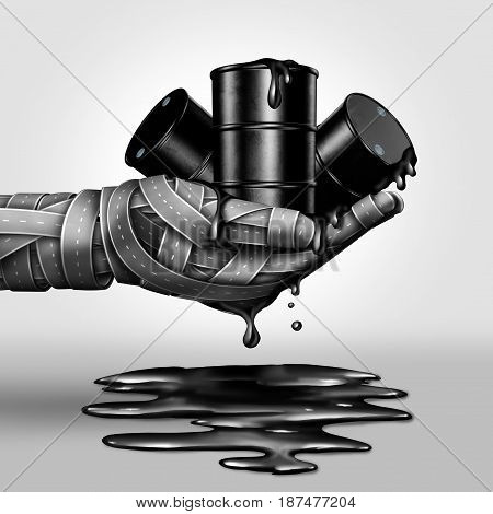 Dirty fuel concept as a crude oil barrel group leaking petroleum into a spill as a group of streets shapes a a human hand as a 3d illustration.