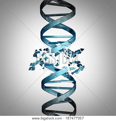 Damaged DNA and genetic mutation biotechnology concept as a double helix strand with damage as a medical symbol for genome or chromosome problem as a 3D illustration.