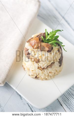 Risotto with porcini mushrooms on the white plate