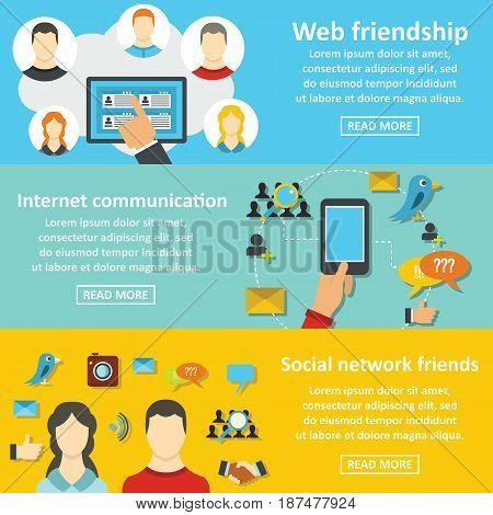 Communication banner horizontal concept set. Flat illustration of 3 communication vector banner horizontal concepts for web