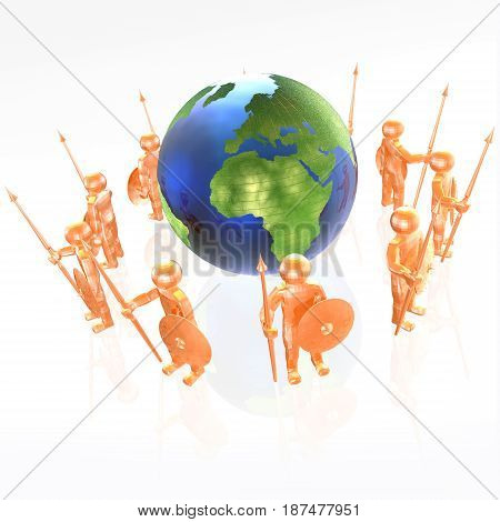 Red armed mans with globe on white background 3D illustration.