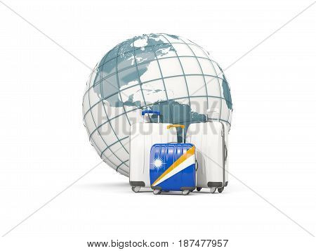 Luggage With Flag Of Marshall Islands. Three Bags In Front Of Globe