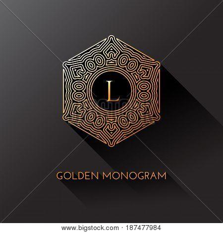Golden elegant monogram with letter L. Template design for monogram label logo emblem. Vector illustration.