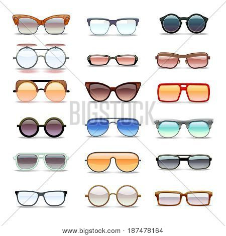 Summer sunglasses, fashion eyeglasses flat vector icons. Fashion sunglass collection, illustration of modern sunglass