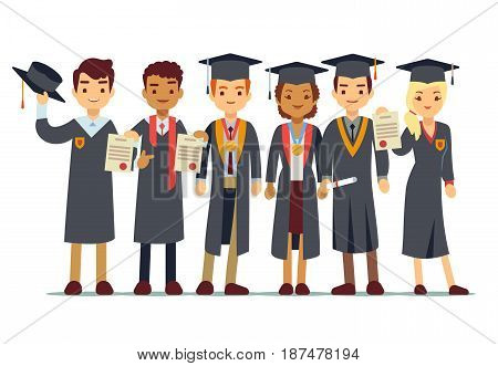Vector graduation concept with students, college graduate. Students graduation university or school, illustration of people graduate
