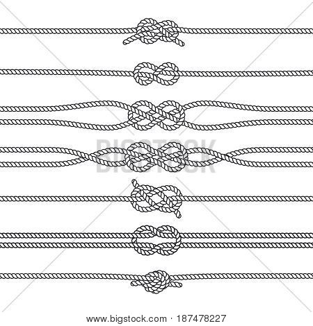 Sailing knots horizontal borders or deviders. Vector marine decorations. Nautical knots, illustration of rope twisted knot