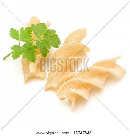 Italian  twisted pasta fusilli isolated on white background. Fusilloni, rotini.