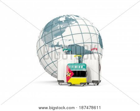 Luggage With Flag Of Mozambique. Three Bags In Front Of Globe