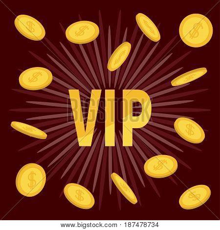 VIP. Golden text Flying coin rain with dollar sign. Online casino roulette poker slot machines card games gambling club banner. Flat design. Bordo starburst sunburst background. Vector