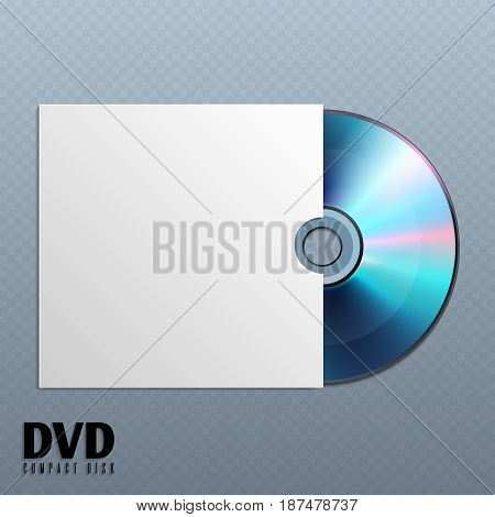 Dvd cd disk with white empty envelope cover vector illustration. Dvd disk music in paper box, dvd media disk with data