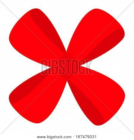 Red ribbon Christmas gift bow icon. Decoration element. Flat design. White background. Isolated. Vector illustration