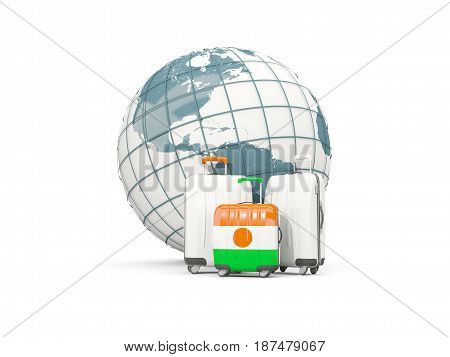 Luggage With Flag Of Niger. Three Bags In Front Of Globe