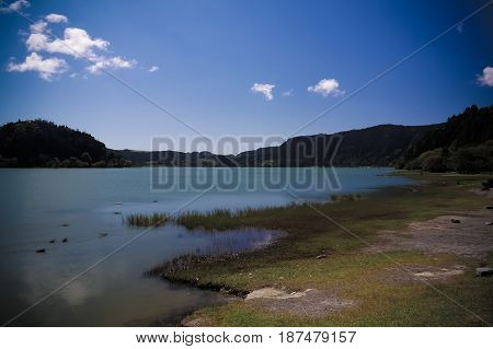 Coastline view to Furnas lake in Sao Migel Azores Portugal