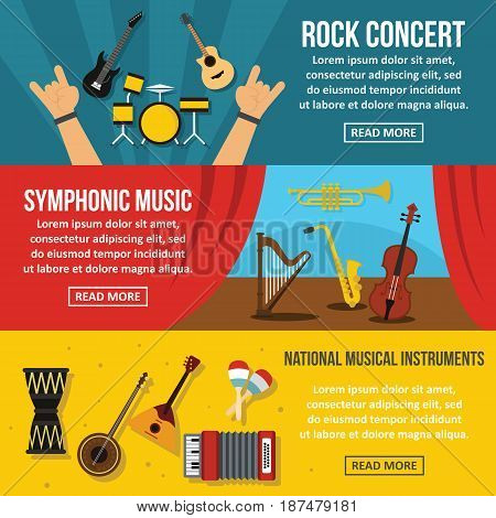 Concert poster banner horizontal concept set. Flat illustration of 3 concert poster vector banner horizontal concepts for web