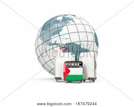 Luggage With Flag Of Palestinian Territory. Three Bags In Front Of Globe