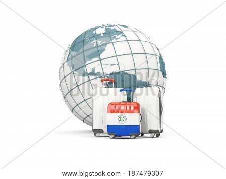 Luggage With Flag Of Paraguay. Three Bags In Front Of Globe