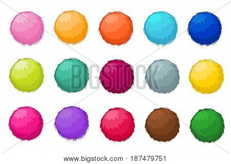 Colorful fluffy pompom fur balls isolated vector set. Pompom ball fluffy, illustration of colored soft pompom
