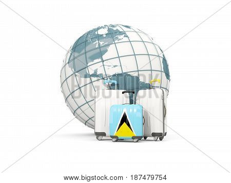 Luggage With Flag Of Saint Lucia. Three Bags In Front Of Globe