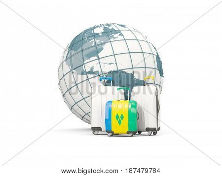 Luggage With Flag Of Saint Vincent And The Grenadines. Three Bags In Front Of Globe