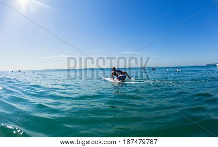 Surfer kneeling unidentified paddling long board towards backline blue horizon sky water rear photo.