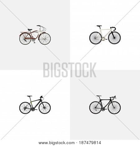Realistic Hybrid Velocipede, Journey Bike, Exercise Riding And Other Vector Elements. Set Of Bike Realistic Symbols Also Includes Training, Track, Bike Objects.