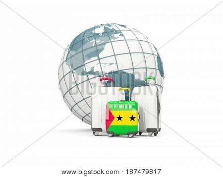 Luggage With Flag Of Sao Tome And Principe. Three Bags In Front Of Globe