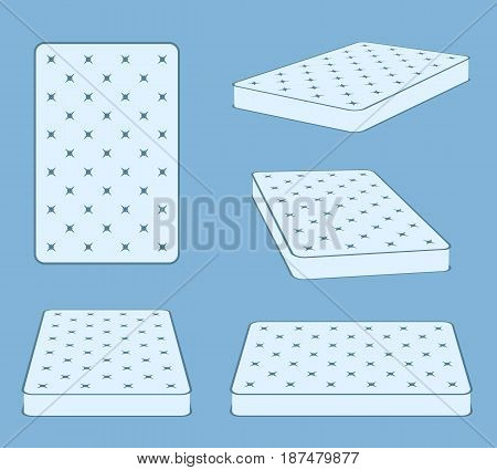 Padded comfortable sleeping bed mattress in different position vector template. Flat mattress for bed, illustration of comfortable mattress