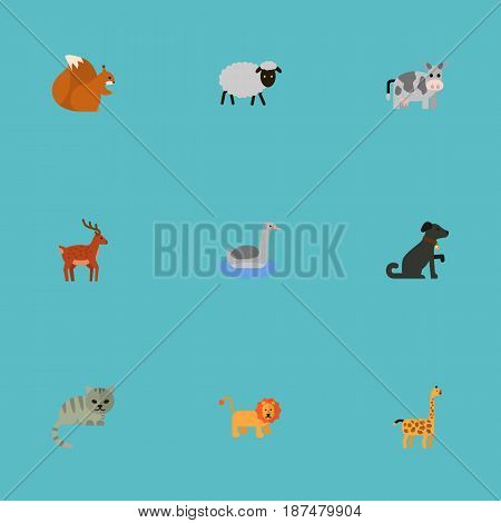 Flat Predator, Waterbird, King And Other Vector Elements. Set Of Beast Flat Symbols Also Includes Waterbird, Goose, Sheep Objects.