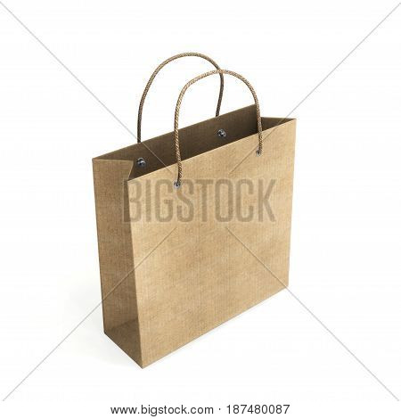 Cardboard Package For Purchases. Empty Paper Shopping On A White Background. 3D Rendering.
