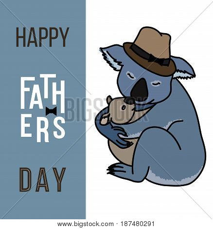 Happy fathers day vector cards with cute animals, Dad and kid koala bears