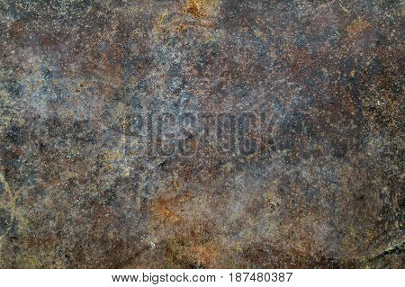 Grungy iron steel wall with heavy corrosion background pattern