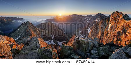 Wonderful scenery in mountains during summer colorful sunset in High Tatras in Slovakia