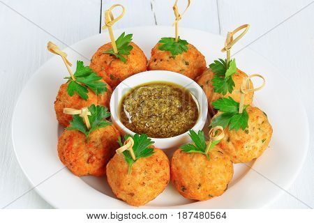 Delicious Fried Meatballs On Wooden Skewers