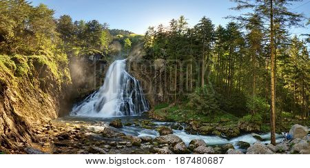 Austria waterfall panorama in a Alps Golling at spring