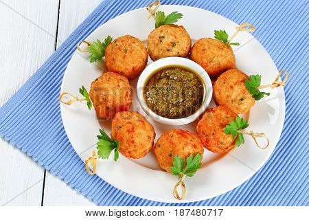 Tasty Fried Meatballs On Wooden Skewers