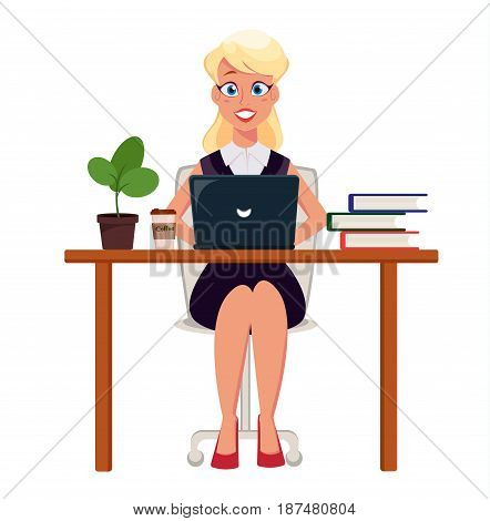 Business woman entrepreneur working on laptop at her office desk. Cute cartoon character. Modern color vector illustration.