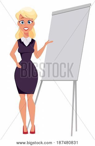 Young cartoon businesswoman standing near office board making presentation. Beautiful girl presenting business plan startup. Vector illustration. EPS10