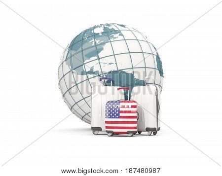 Luggage With Flag Of United States Of America. Three Bags In Front Of Globe