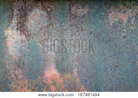 Grungy iron wall with heavy corrosion background pattern