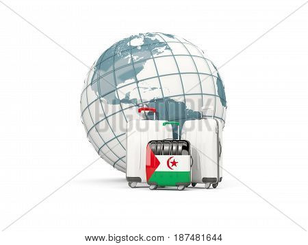 Luggage With Flag Of Western Sahara. Three Bags In Front Of Globe