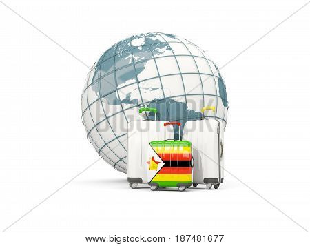 Luggage With Flag Of Zimbabwe. Three Bags In Front Of Globe