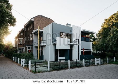 Utrecht Netherlands - August 4 2016: The Schroder House designed by architect Gerrit Rietveld . It constitutes both inside and outside a radical break with all architecture before.